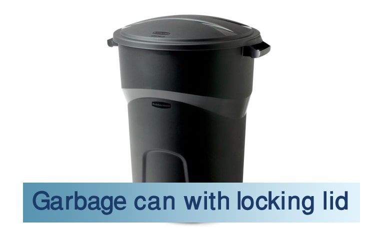 Garbage can with locking lid